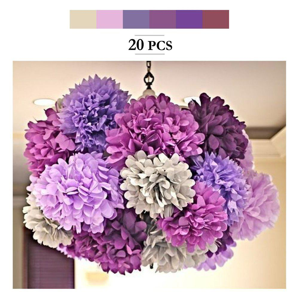 20pcs Tissue Paper Pom Poms Paper Flowers Garland for Engagement Wedding Party Xmas Decoration (Purple Shades Set) - multicolorCOLOR 20PCS