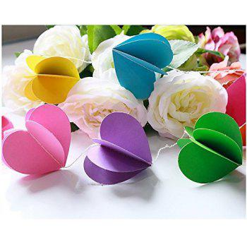 10-feet Colorful Party Paper Heart Garland Hanging Decoration Strings - Rainbow Color - multicolorCOLOR 1PCS