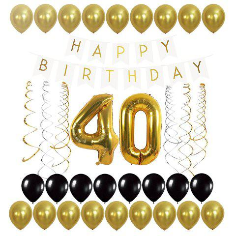 40th Balloons Birthday Banner And Streamers Set For Decoration