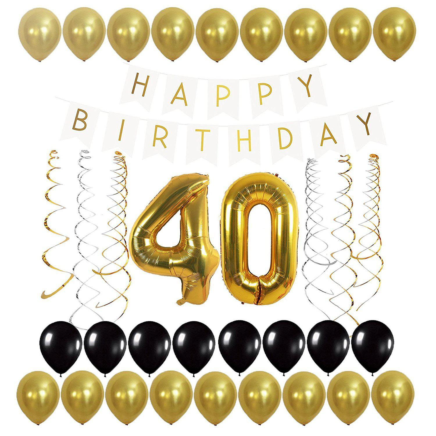 40th Balloons Happy Birthday Banner and Streamers Set for 40th Birthday decoration - BLACK / GOLD 40TH