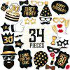 34pcs High Quality Black and Gold Pieces 30th BirthdayDIY Photo Booth Prop Usable As Birthday Party Decorations - BLACK / GOLD 34PCS
