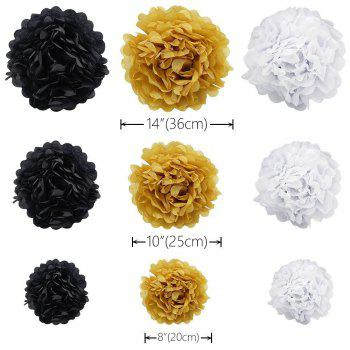 Happy Birthday Flag Bunting Banner and Set of 9 Tissue Paper Pom Poms Flowers Garland for Birthday Party Decorations - BLACK / GOLD 10PCS