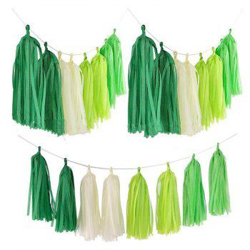 8 Pcs/String Tissue Paper Pom Poms Flowers Tissue Tassel Garland for Wedding Birthday Party Decorations - GREEN 8PCS