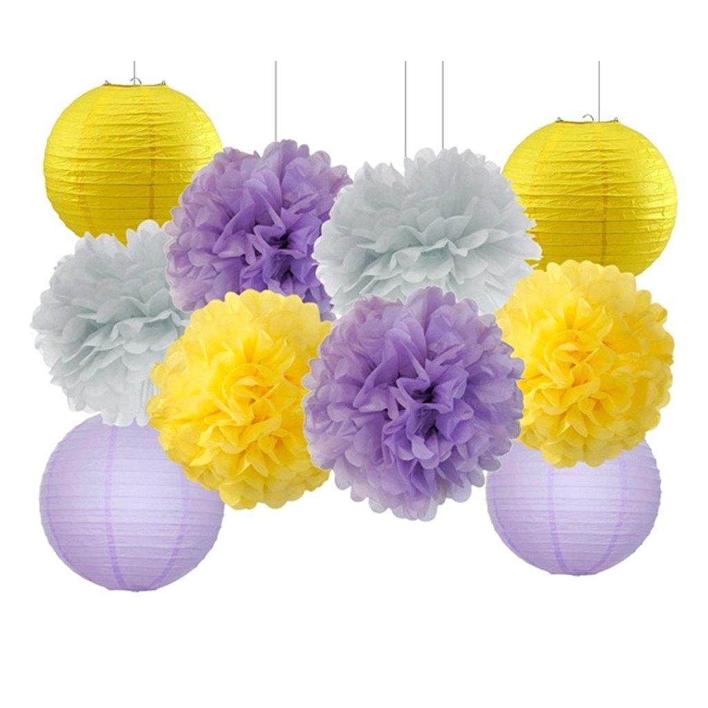 EASTERN HOPE 10 Pcs Tissue Paper Pom Pom Paper Lanterns for Lavender Themed Party Bridal Shower Decor Baby Shower Decoration - multicolorCOLOR 10PCS