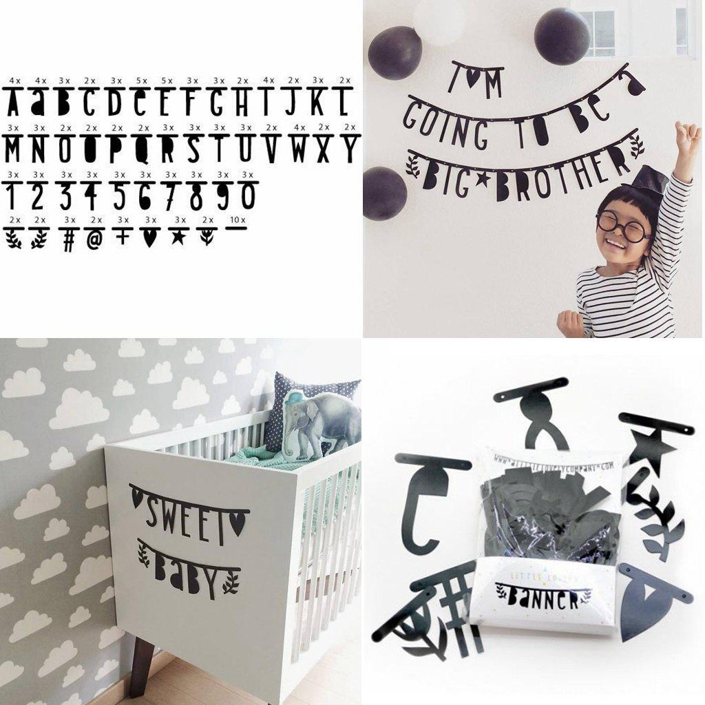EASTERN HOPE 143 PCS Creative Black Alphabet Diy Letter Wall Decal Tissue Paper for Kid Room Decoration Home Decor - BLACK 143PCS