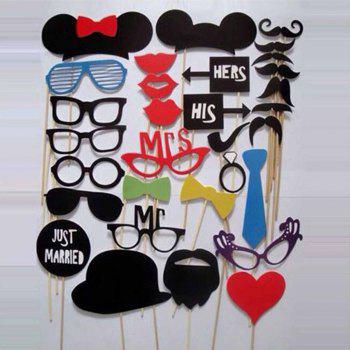 31PCS/Set DIY Wedding Birthday Party Cosplay Mask Photo Booth Props On A Stick - AS THE PICTURE 31PCS