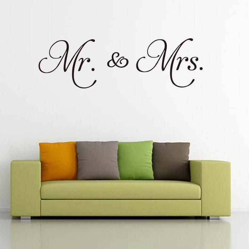 Mr Mrs Quote Wall Sticker Vinyl Removable English Words Quote Decals for Couple цена
