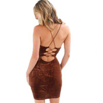 Fashion Sexy Halter Straps Dress - MOCHA S
