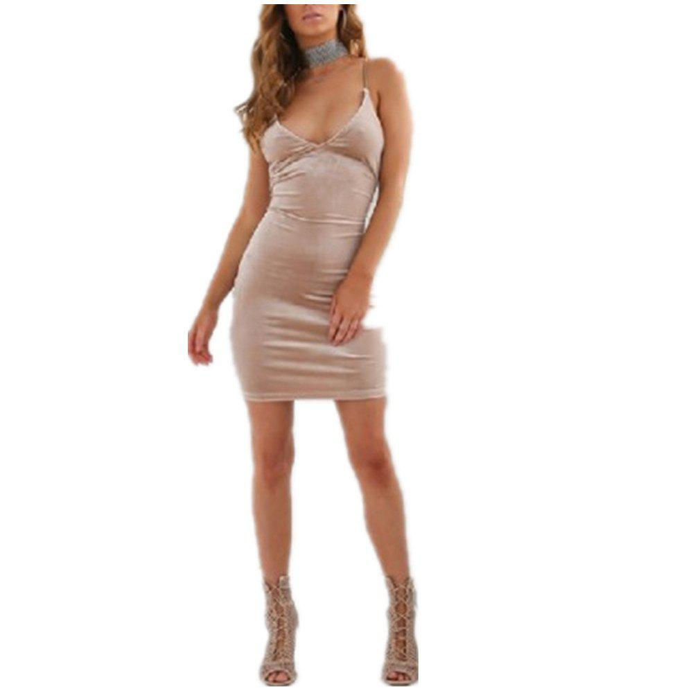 Fashion Sexy Halter Straps Dress - APRICOT M