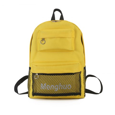 4551d16b81e8 Simple Fashion All Match schoolbag backpack with Tuck Net for Women - YELLOW