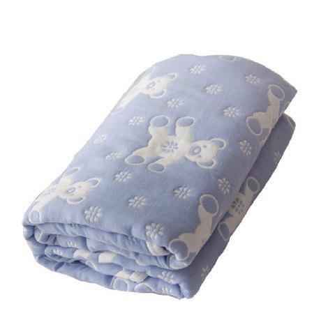 Baby Cartoon Breathable Cotton Yarn Blanket - BLUE ONE SIZE