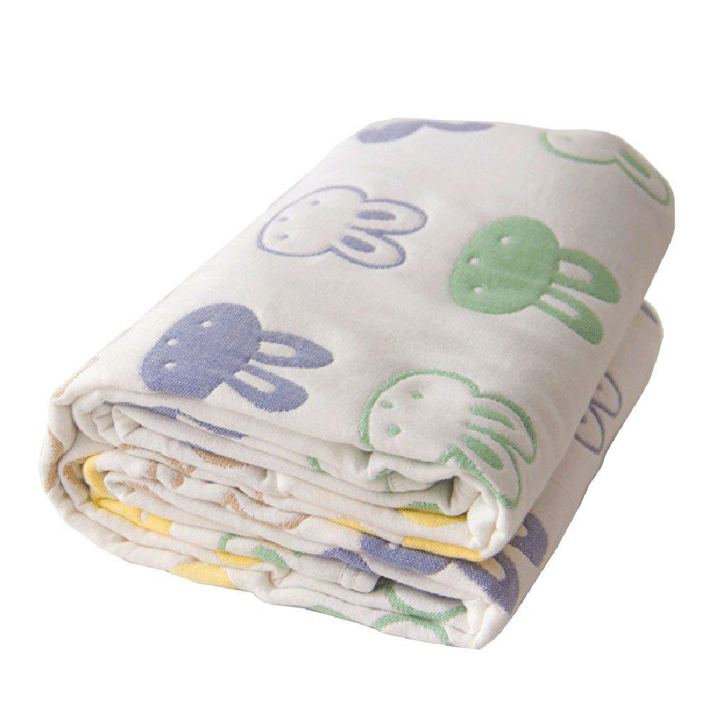 Baby Cartoon Breathable Cotton Yarn Blanket - GREEN ONE SIZE
