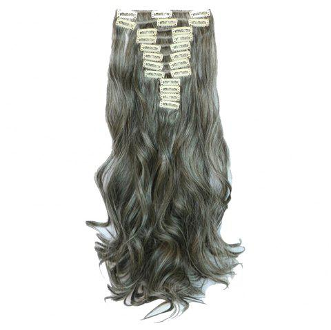 12 pcs/Set Hair Extensions Accessory Women Fashion Solid Color Long Curly Pattern Chemical Fiber Stylish Wigs - GRAY
