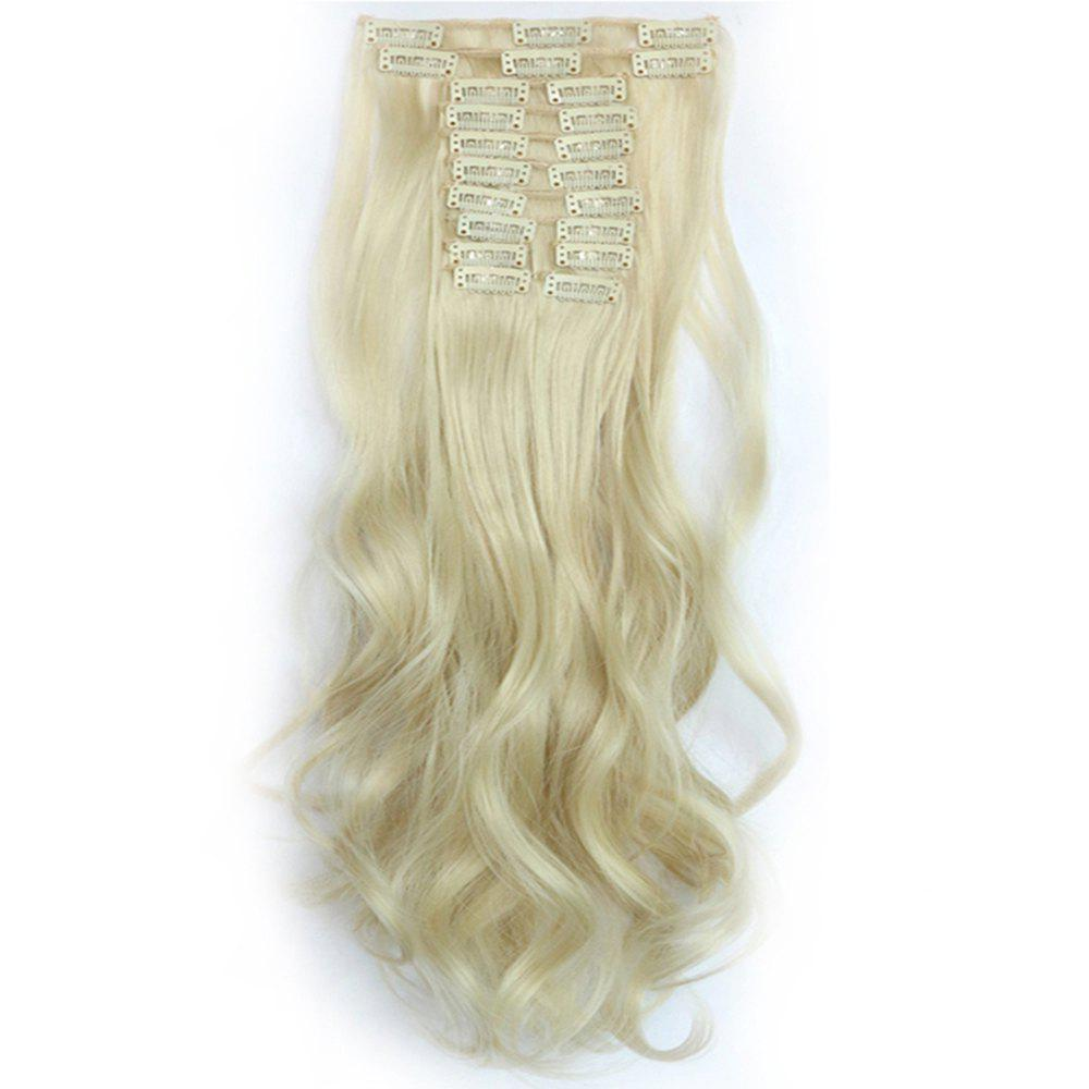 12 pcs/Set Hair Extensions Women Fashion Long Curly Pattern Chemical Fiber Stylish Wigs - KHAKI SINGLE