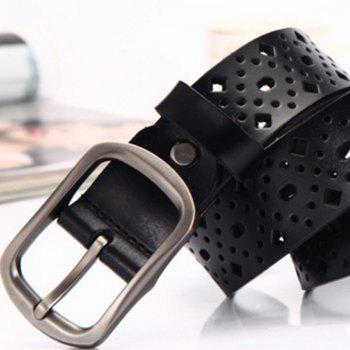 Women Cut-Out Casual Trousers Belt with Fashionable Leather Belt - BLACK LEATHER BAND