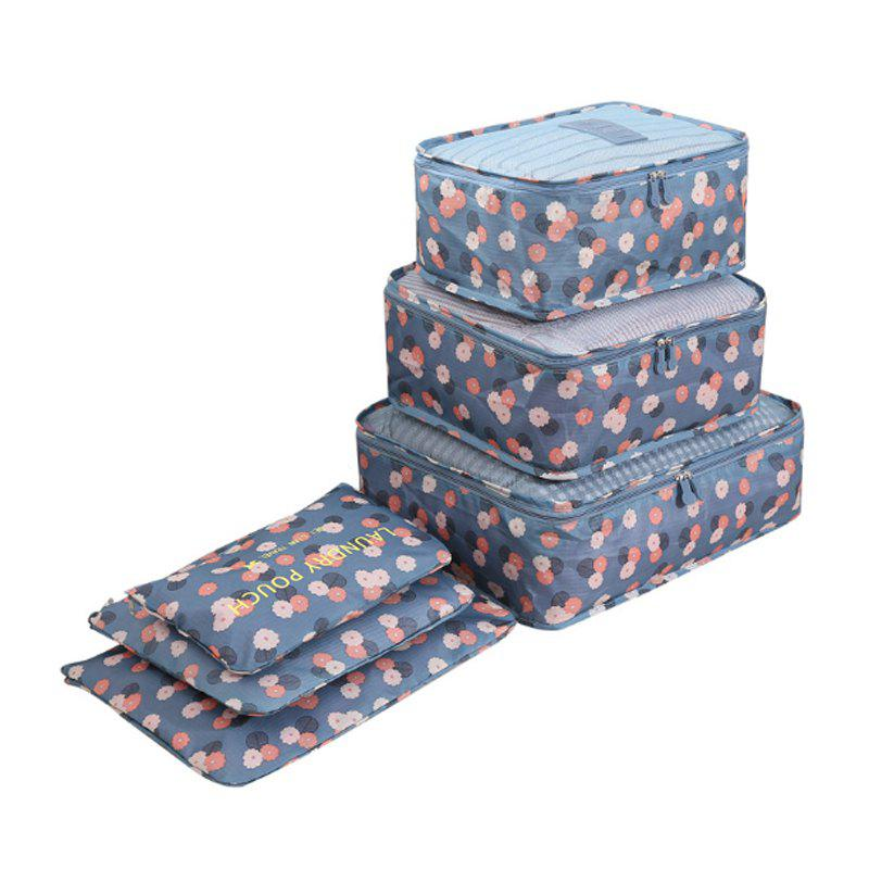 Travel Print Six Packages of Clothing Packing Bags - BLUE