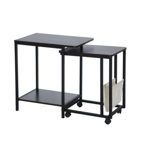 Nesting Table Set and Wheels Sofa Side Table - BLACK