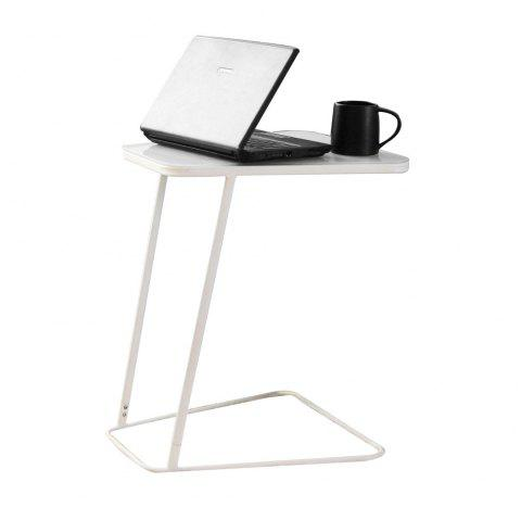 Toughened Glass Top Table  and C Shape End Table  Small Side Table Computer - WHITE