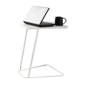 Toughened Glass Top Table  and C Shape End Table  Small Side Table Computer - WHITE WHITE