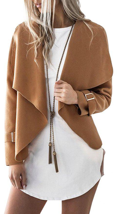 Lapel Open Front Wool Blend Coat - CAMEL S