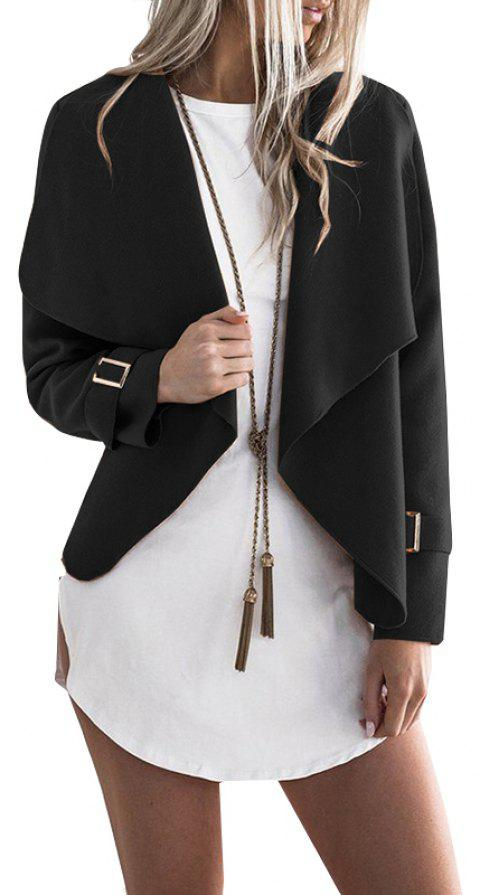 Lapel Open Front Wool Blend Coat - BLACK M