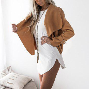 Lapel Open Front Wool Blend Coat - CAMEL L