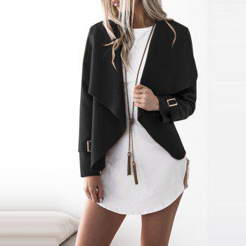 Lapel Open Front Wool Blend Coat - BLACK L
