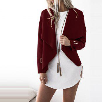 Lapel Open Front Wool Blend Coat - BURGUNDY L