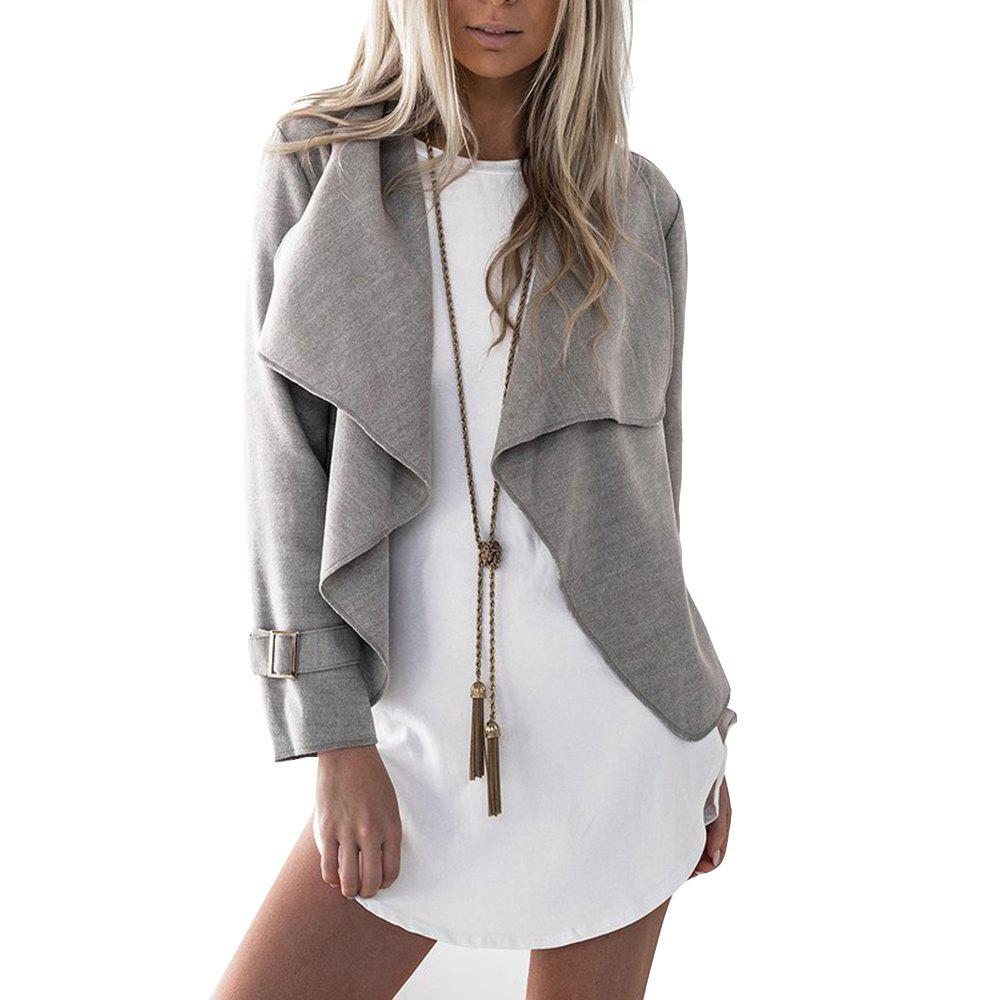 Lapel Open Front Wool Blend Coat - GRAY M