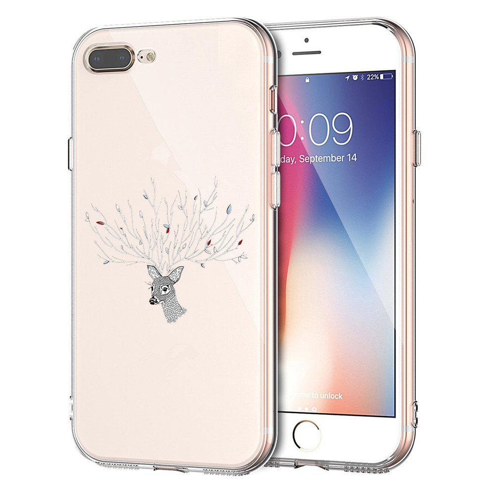 TPU Literary Deer Flower Pattern Phone Cover Case for iPhone 7 Plus - TRANSPARENT