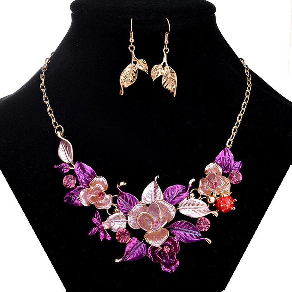 Women Girls Leaves Pendant Necklace Earrings Set Metal Choker Collar Bride Fashion Jewelry Set trendy fashion jewelry multi tribal cut out tiered necklace set by fashion destination