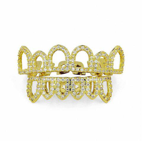 Hip Hop 18K Plaqué Or Creux CZ Pierre Dents Grillz - Or