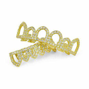 Hip Hop 18K Gold Plated Hollow CZ Stone Teeth Grillz - GOLDEN