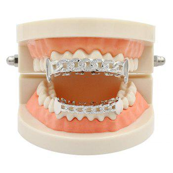 Hip Hop 18K Gold Plated Hollow Chain Teeth Grillz - SILVER