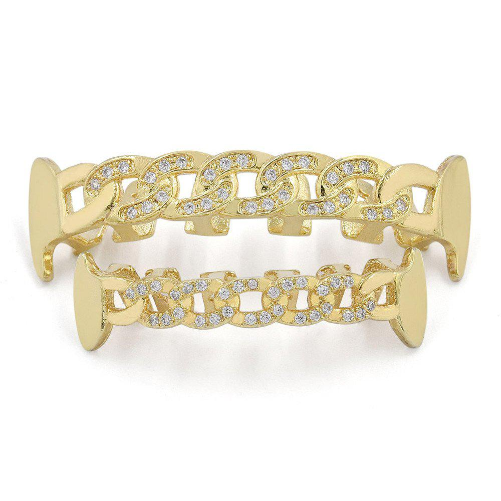 Hip Hop 18K Gold Plated Hollow Chain Teeth Grillz - GOLDEN