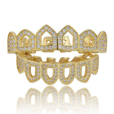 Hip Hop 18K Gold Plated Hollow Micro Pave CZ StoneTeeth Grillz - GOLDEN