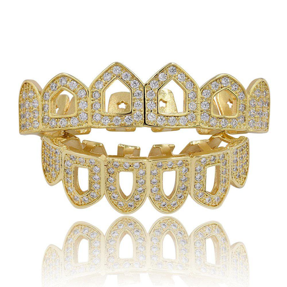 Hip Hop 18K Plaqué Or Creux Micro Pave CZ StoneTeeth Grillz - Or