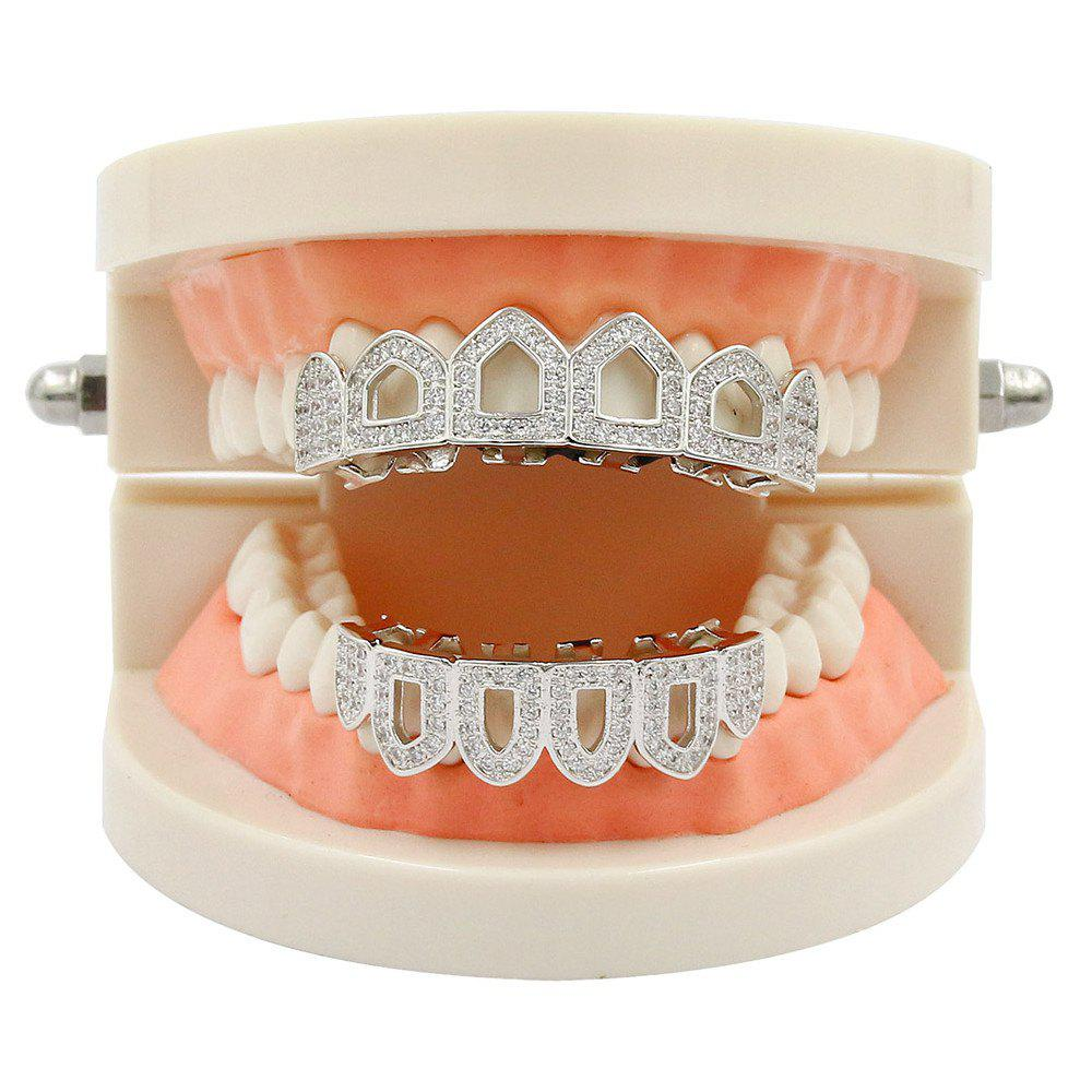 Hip Hop 18K Gold Plated Hollow Micro Pave CZ StoneTeeth Grillz - SILVER