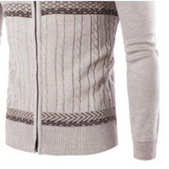 Men'S Sweater Jacquard Knit Long-Sleeved Cardigan  Sweater - OFF WHITE L