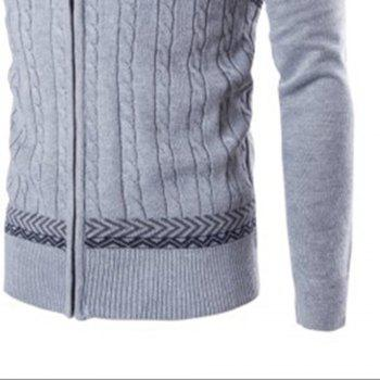 Men'S Sweater Jacquard Knit Long-Sleeved Cardigan  Sweater - LIGHT GRAY L