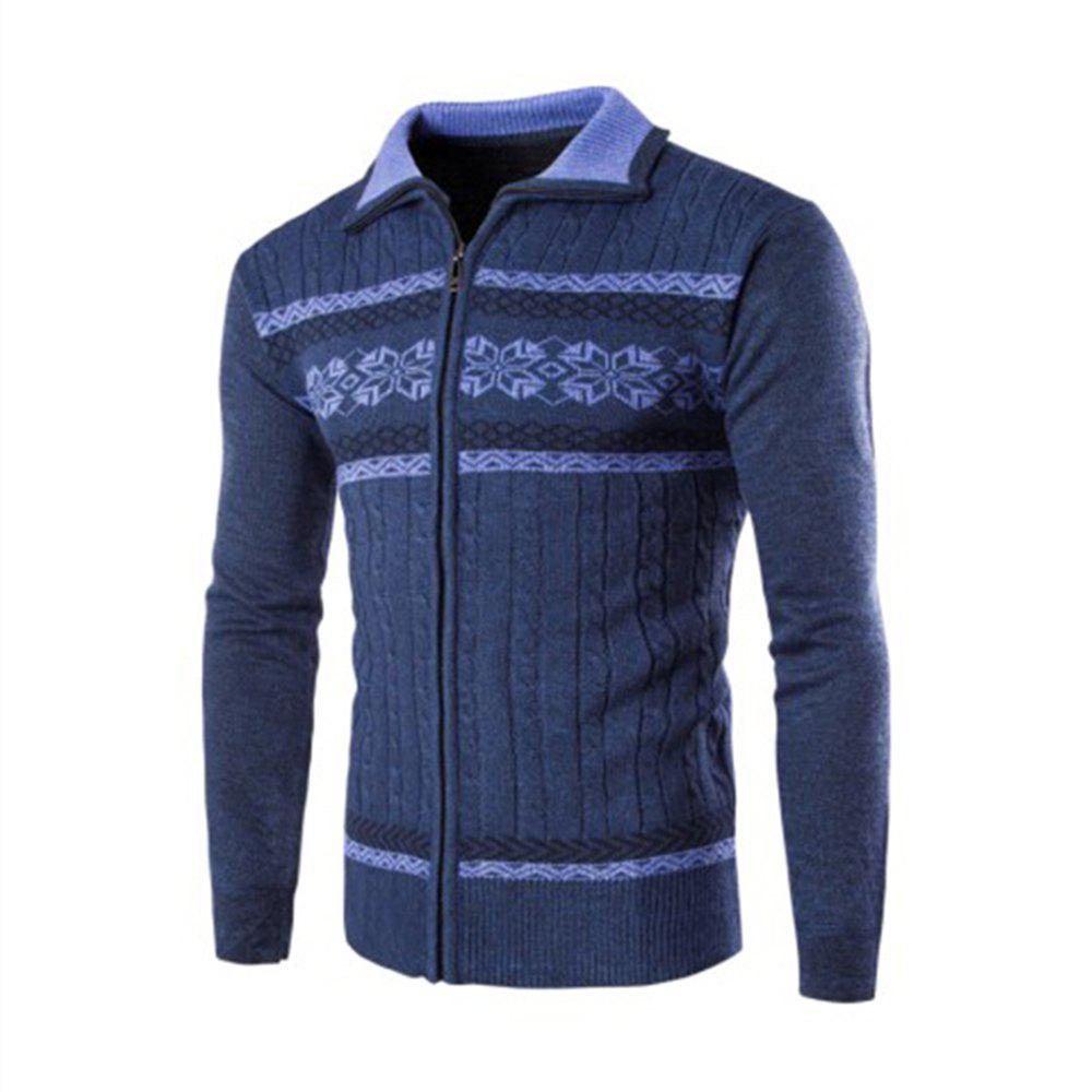 Men'S Sweater Jacquard Knit Long-Sleeved Cardigan  Sweater - CADETBLUE L