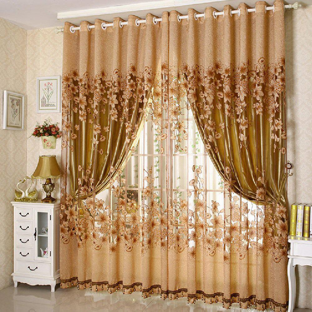 Rotten Flower Jacquard Morning Glory Curtain - MOCHA FLAT FRONT