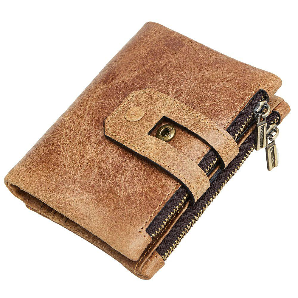 Anti-Theft Brush Leather Wallet - YELLOW BROWN