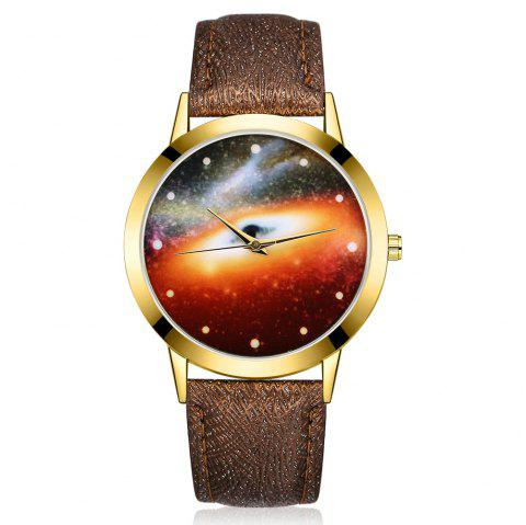 GAIETY G371 Women's Starry Sky Dial Leather Band Watches - COFFEE