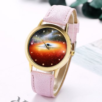 GAIETY G371 Women's Starry Sky Dial Leather Band Watches - PURPLE