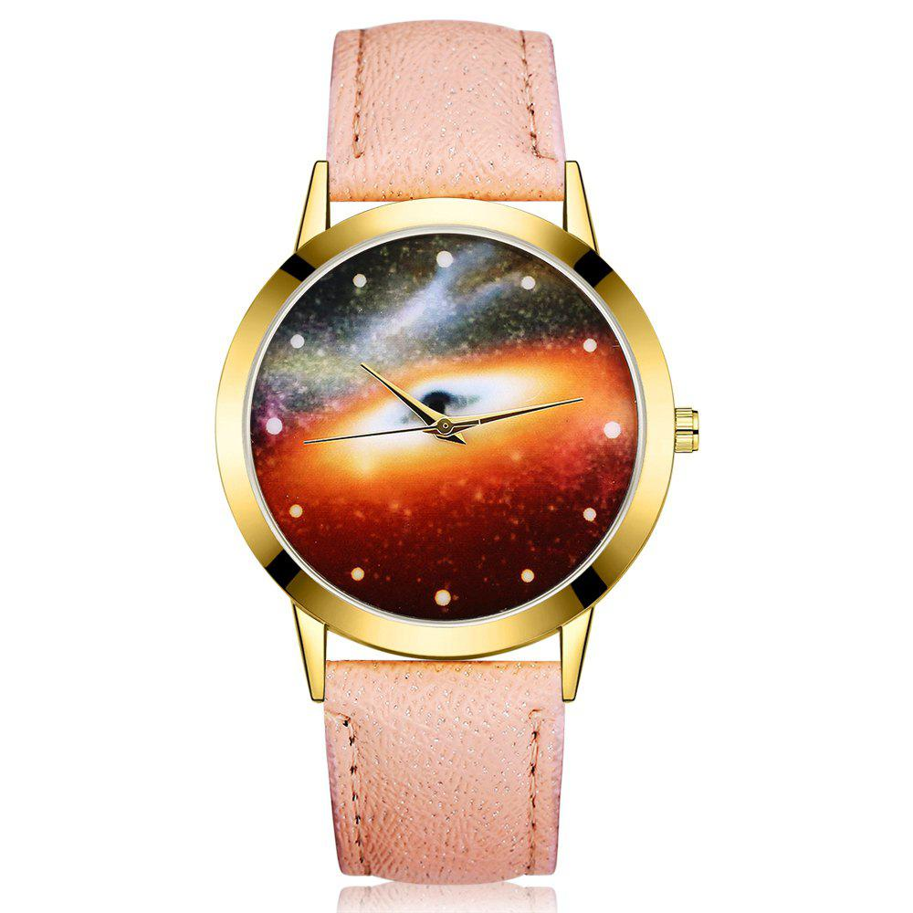 GAIETY G371 Women's Starry Sky Dial Leather Band Watches - APRICOT