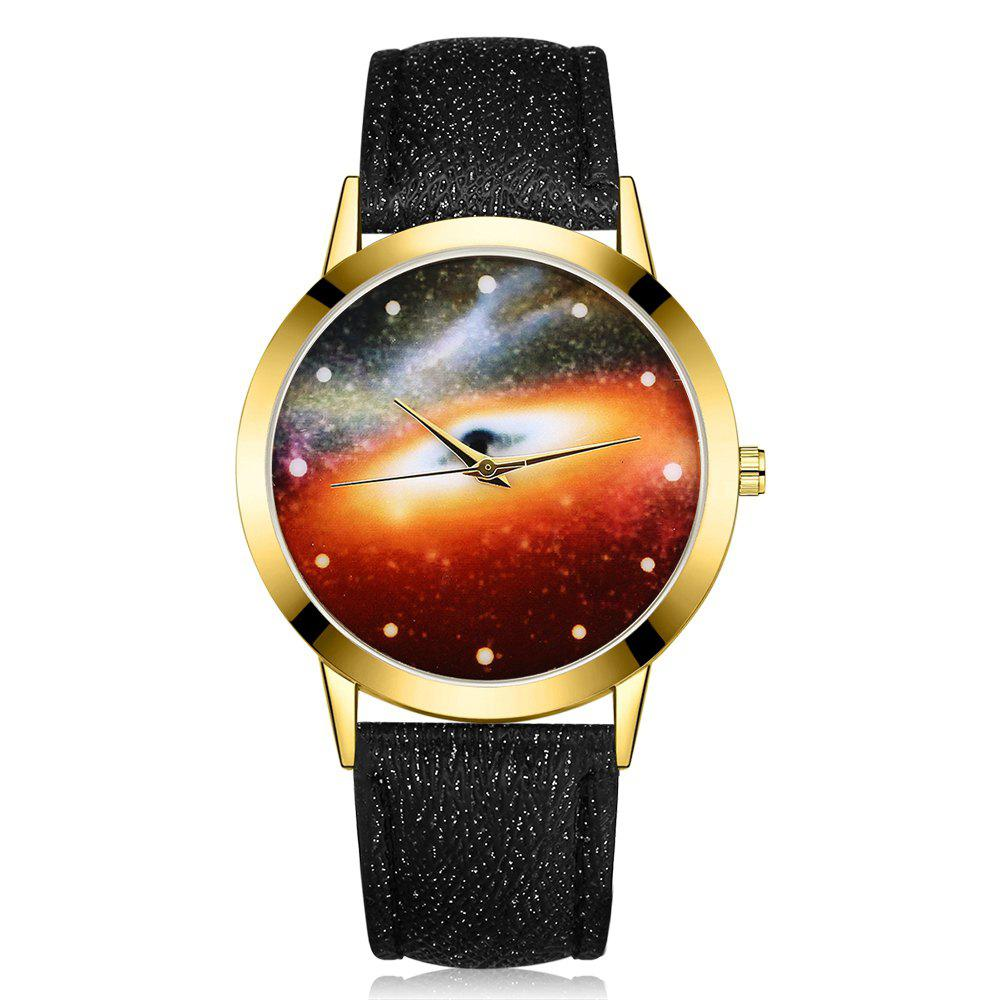 GAIETY G371 Women's Starry Sky Dial Leather Band Watches - BLACK