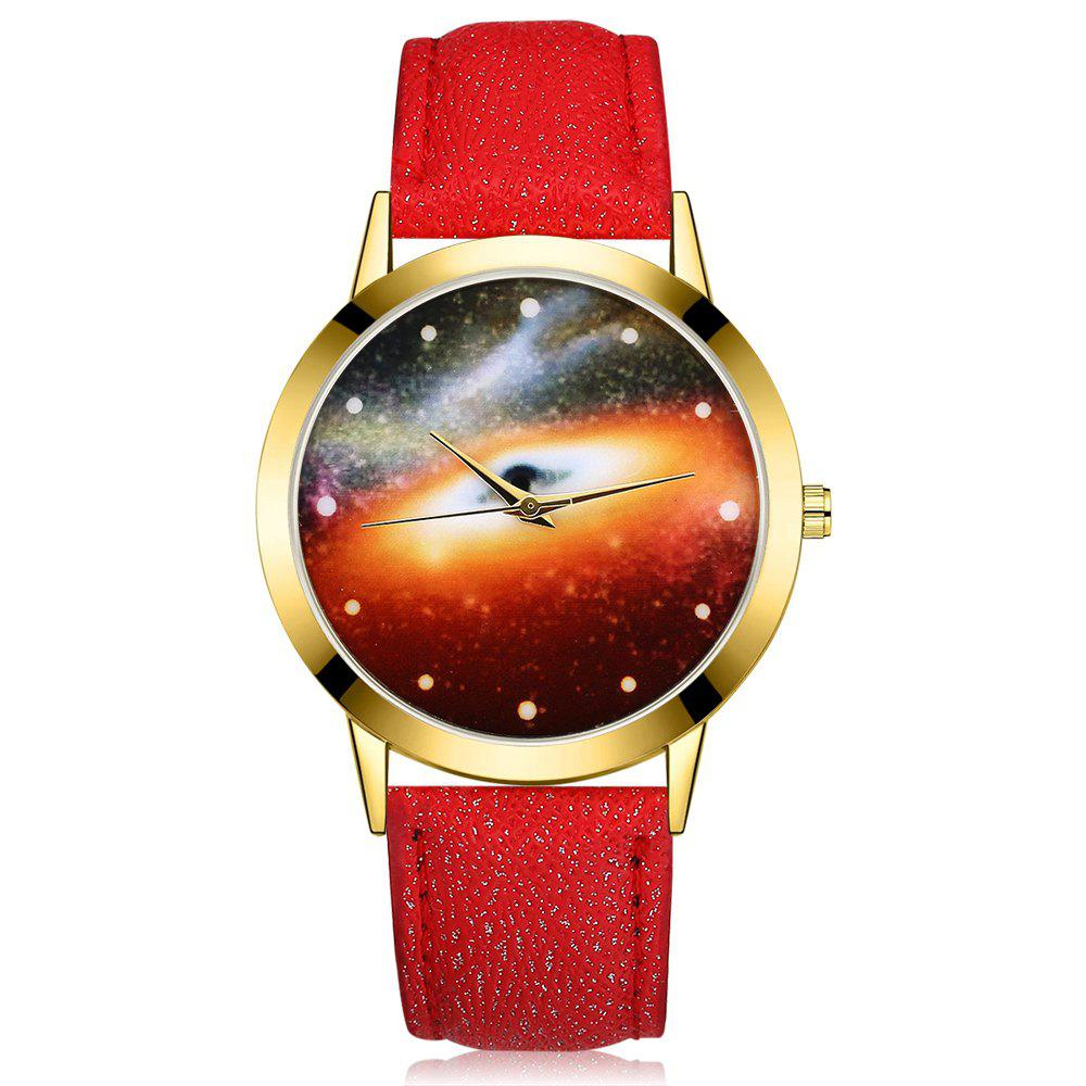 GAIETY G371 Women's Starry Sky Dial Leather Band Watches - RED