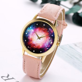 GAIETY G370 Women Watch Leather Strap Starry Sky Face Wrist Watches - APRICOT