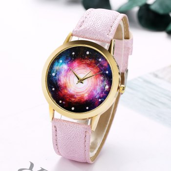 GAIETY G370 Women Watch Leather Strap Starry Sky Face Wrist Watches - PURPLE